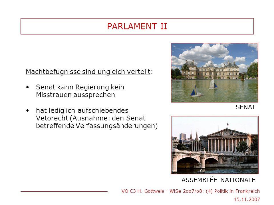 VO C3 H. Gottweis - WiSe 2oo7/o8: (4) Politik in Frankreich 15.11.2007 PARLAMENT II Machtbefugnisse sind ungleich verteilt: Senat kann Regierung kein