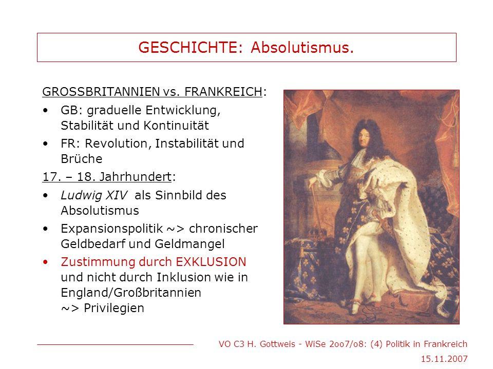 VO C3 H. Gottweis - WiSe 2oo7/o8: (4) Politik in Frankreich 15.11.2007 GESCHICHTE: Absolutismus. GROSSBRITANNIEN vs. FRANKREICH: GB: graduelle Entwick