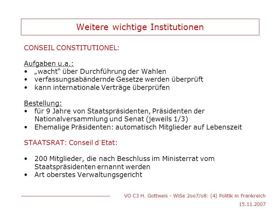 """VO C3 H. Gottweis - WiSe 2oo7/o8: (4) Politik in Frankreich 15.11.2007 Weitere wichtige Institutionen CONSEIL CONSTITUTIONEL: Aufgaben u.a.: """"wacht"""" ü"""