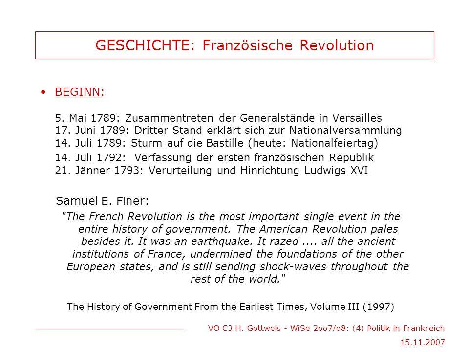 VO C3 H. Gottweis - WiSe 2oo7/o8: (4) Politik in Frankreich 15.11.2007 GESCHICHTE: Französische Revolution BEGINN: 5. Mai 1789: Zusammentreten der Gen