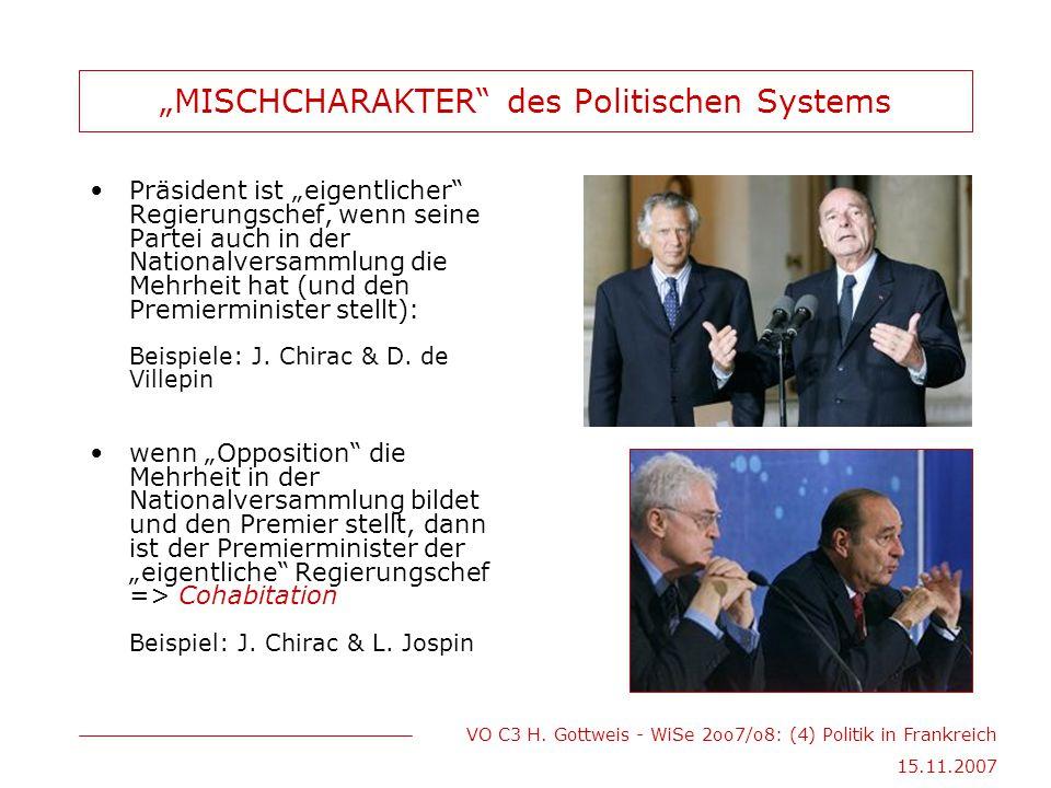 """VO C3 H. Gottweis - WiSe 2oo7/o8: (4) Politik in Frankreich 15.11.2007 """"MISCHCHARAKTER"""" des Politischen Systems Präsident ist """"eigentlicher"""" Regierung"""