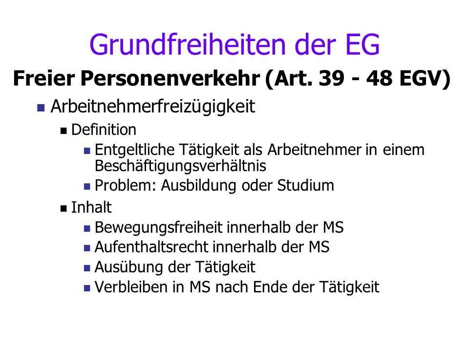 Grundfreiheiten der EG Freier Personenverkehr (Art. 39 - 48 EGV) Arbeitnehmerfreizügigkeit Definition Entgeltliche Tätigkeit als Arbeitnehmer in einem