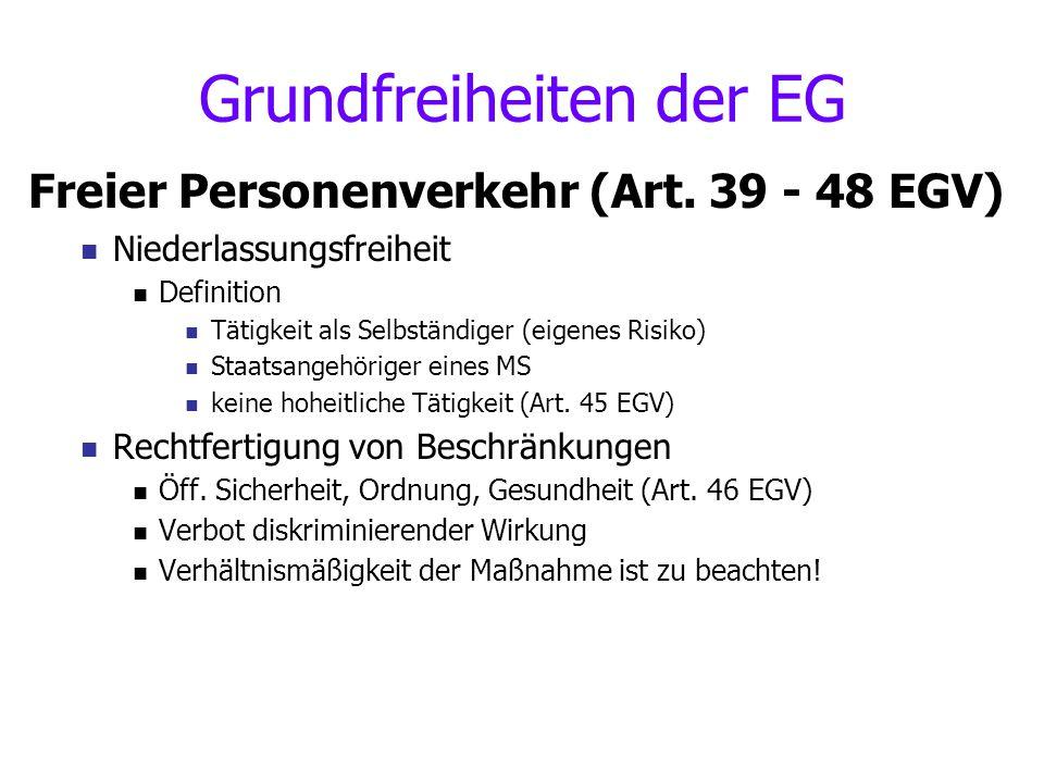 Grundfreiheiten der EG Freier Personenverkehr (Art. 39 - 48 EGV) Niederlassungsfreiheit Definition Tätigkeit als Selbständiger (eigenes Risiko) Staats