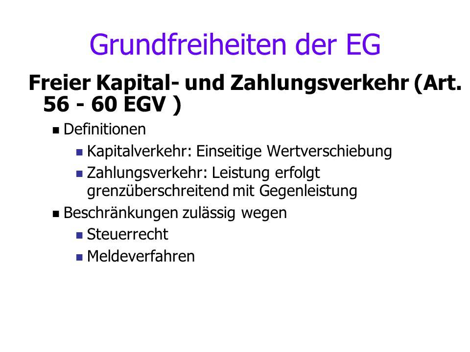 Grundfreiheiten der EG Freier Kapital- und Zahlungsverkehr (Art. 56 - 60 EGV ) Definitionen Kapitalverkehr: Einseitige Wertverschiebung Zahlungsverkeh
