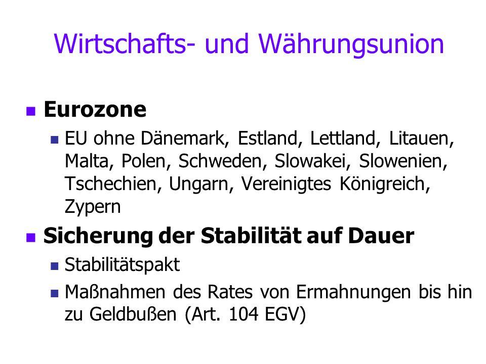 Wirtschafts- und Währungsunion Eurozone EU ohne Dänemark, Estland, Lettland, Litauen, Malta, Polen, Schweden, Slowakei, Slowenien, Tschechien, Ungarn,