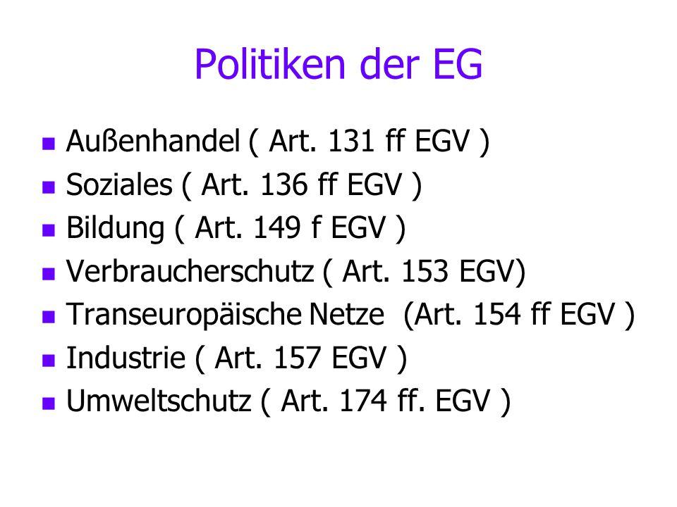 Politiken der EG Außenhandel ( Art. 131 ff EGV ) Soziales ( Art. 136 ff EGV ) Bildung ( Art. 149 f EGV ) Verbraucherschutz ( Art. 153 EGV) Transeuropä