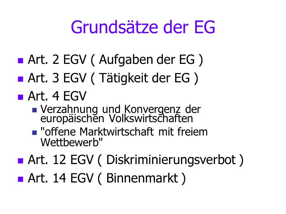 Grundsätze der EG Art. 2 EGV ( Aufgaben der EG ) Art. 3 EGV ( Tätigkeit der EG ) Art. 4 EGV Verzahnung und Konvergenz der europäischen Volkswirtschaft