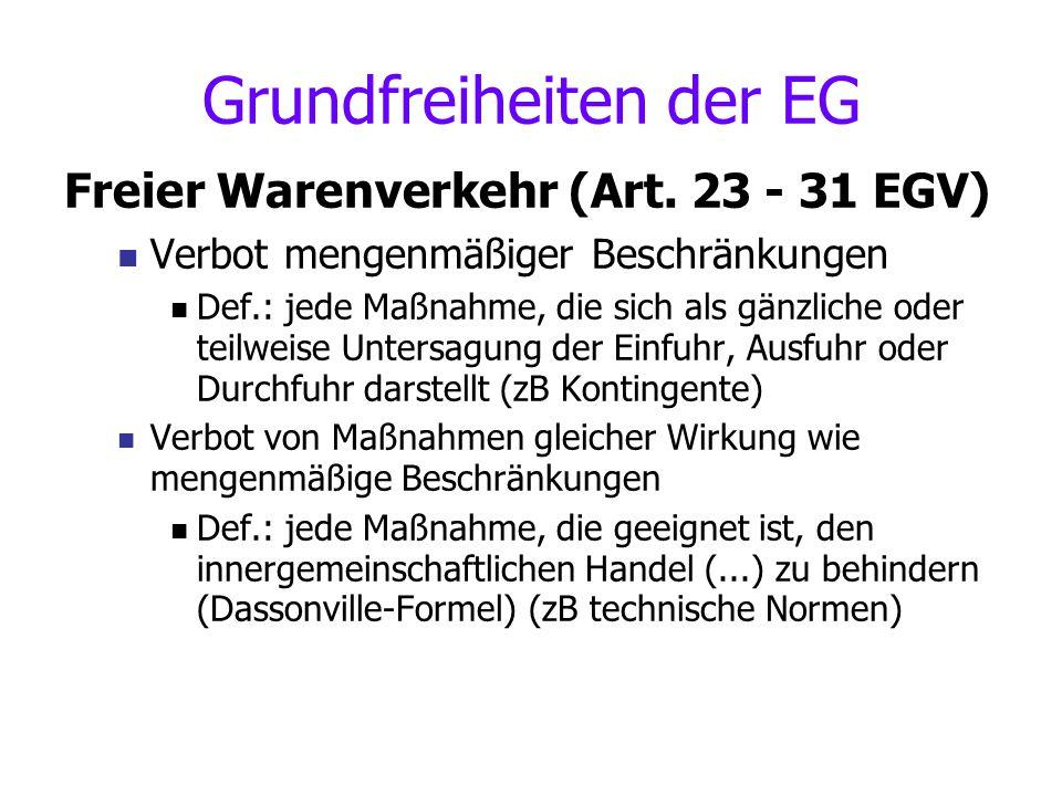 Politiken der EG Außenhandel ( Art.131 ff EGV ) Soziales ( Art.