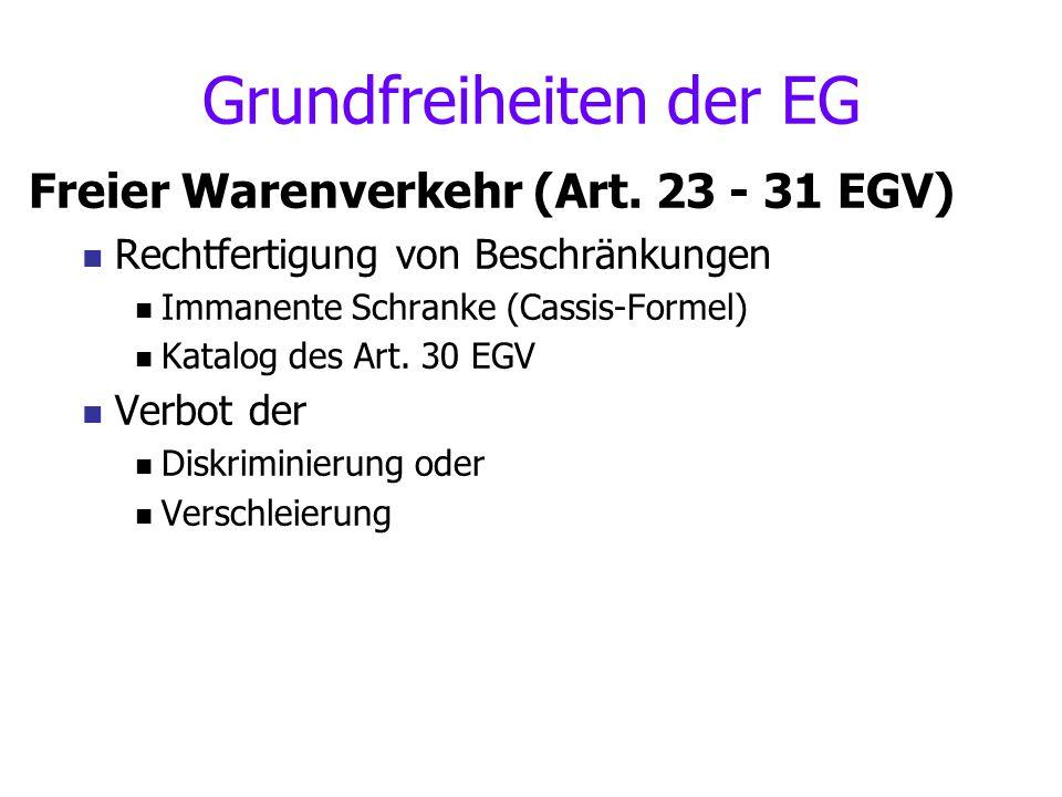 Grundfreiheiten der EG Freier Warenverkehr (Art. 23 - 31 EGV) Rechtfertigung von Beschränkungen Immanente Schranke (Cassis-Formel) Katalog des Art. 30