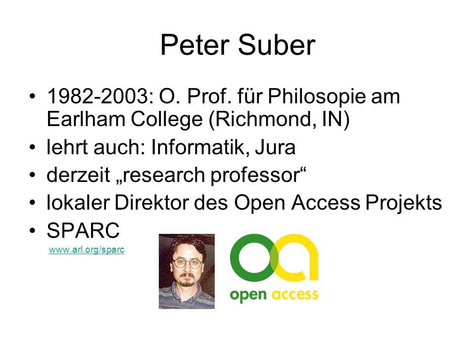 Peter Suber 1982-2003: O. Prof.