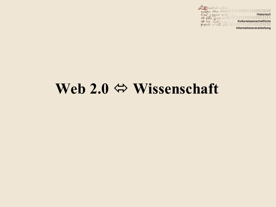 Web 2.0  Wissenschaft