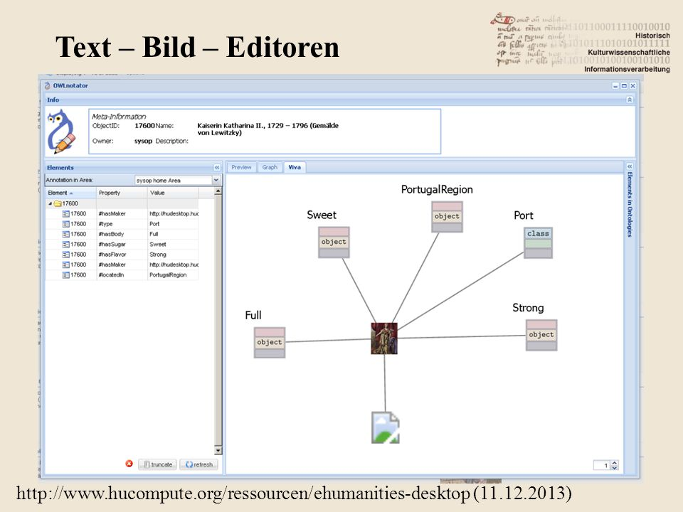 http://www.hucompute.org/ressourcen/ehumanities-desktop (11.12.2013) Text – Bild – Editoren