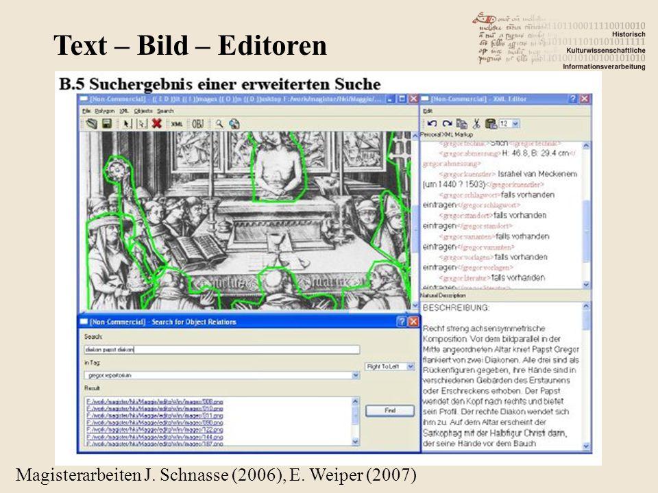 Magisterarbeiten J. Schnasse (2006), E. Weiper (2007) Text – Bild – Editoren