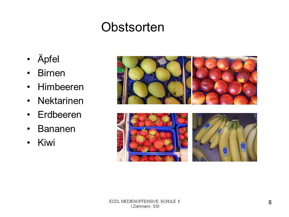 ECDL MEDIENOFFENSIVE SCHULE II I.Ziehmann; SSI 7 Nährstoffgehalt der Äpfel Nährstoffgehalt (bei 100 g) –Vitamin C: 12 mg –Carotinoid : 8 mg –Vitamin B6 : 50 mg –Kalzium: 7 mg –Magnesium: 6 mg