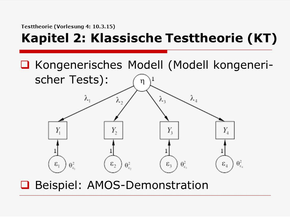 Testtheorie (Vorlesung 4: 10.3.15) Kapitel 2: Klassische Testtheorie (KT)  Kongenerisches Modell (Modell kongeneri- scher Tests):  Beispiel: AMOS-De