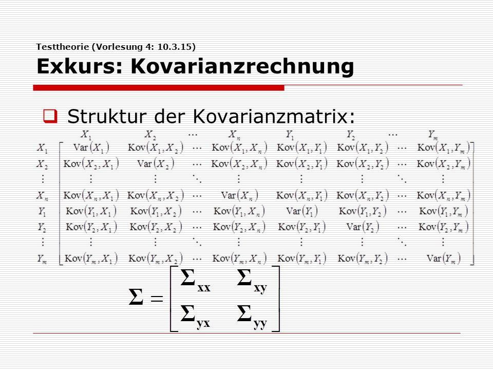 Testtheorie (Vorlesung 4: 10.3.15) Exkurs: Kovarianzrechnung  Matrizenrechnung:  Varianz der Summe von Zufallsvariablen:  Varianz der Summe = Summe aller Einträge