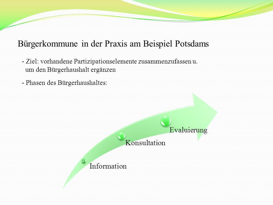 Bürgerkommune in der Praxis am Beispiel Potsdams - Ziel: vorhandene Partizipationselemente zusammenzufassen u.