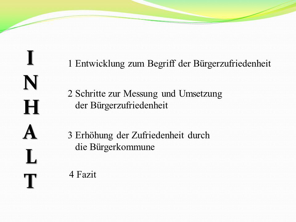 INHALTINHALTINHALTINHALT 1 Entwicklung zum Begriff der Bürgerzufriedenheit 2 Schritte zur Messung und Umsetzung der Bürgerzufriedenheit 3 Erhöhung der Zufriedenheit durch die Bürgerkommune 4 Fazit