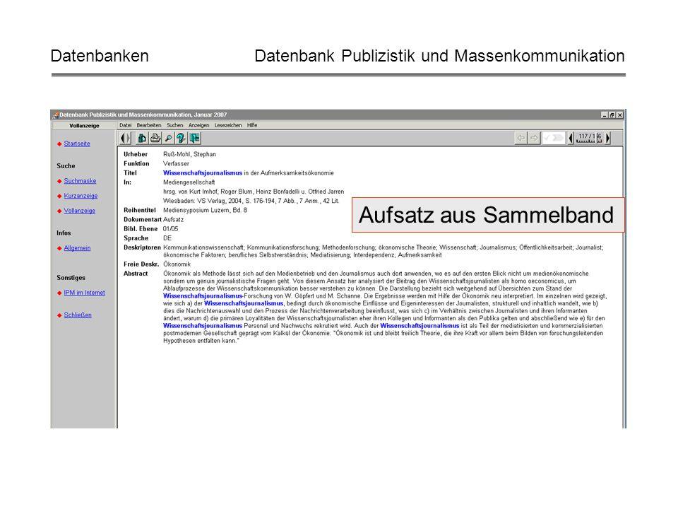 Aufsatz aus Sammelband Datenbanken Datenbank Publizistik und Massenkommunikation