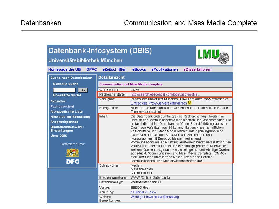 Datenbanken Communication and Mass Media Complete