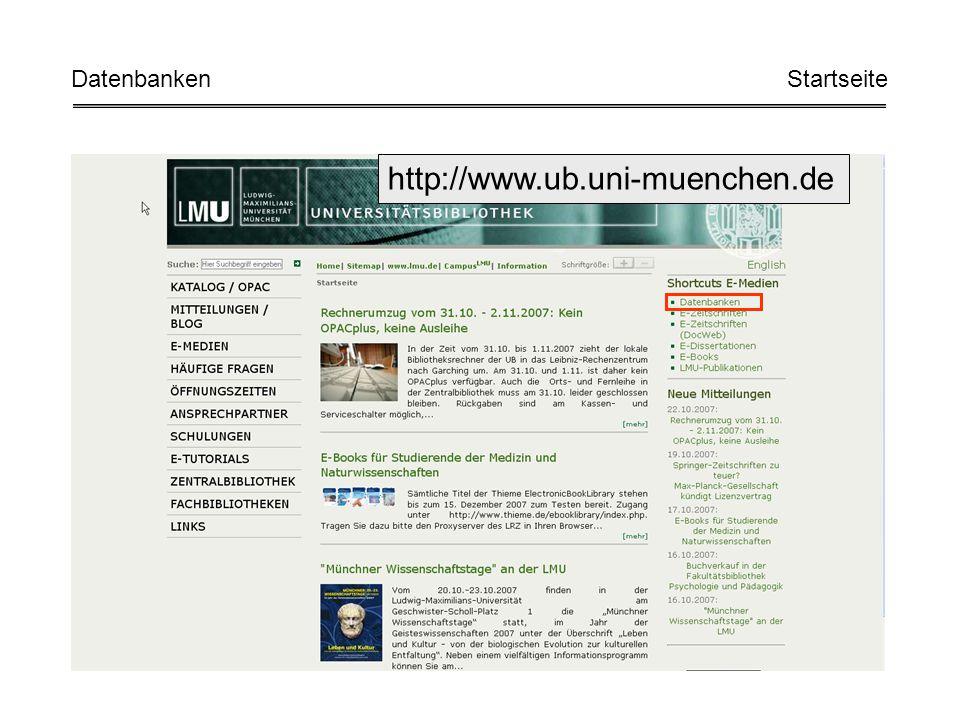 http://www.ub.uni-muenchen.de Datenbanken Startseite