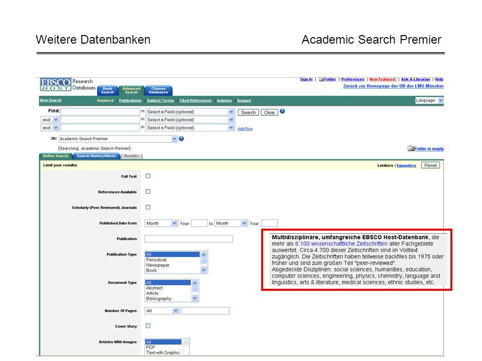 Weitere Datenbanken Academic Search Premier