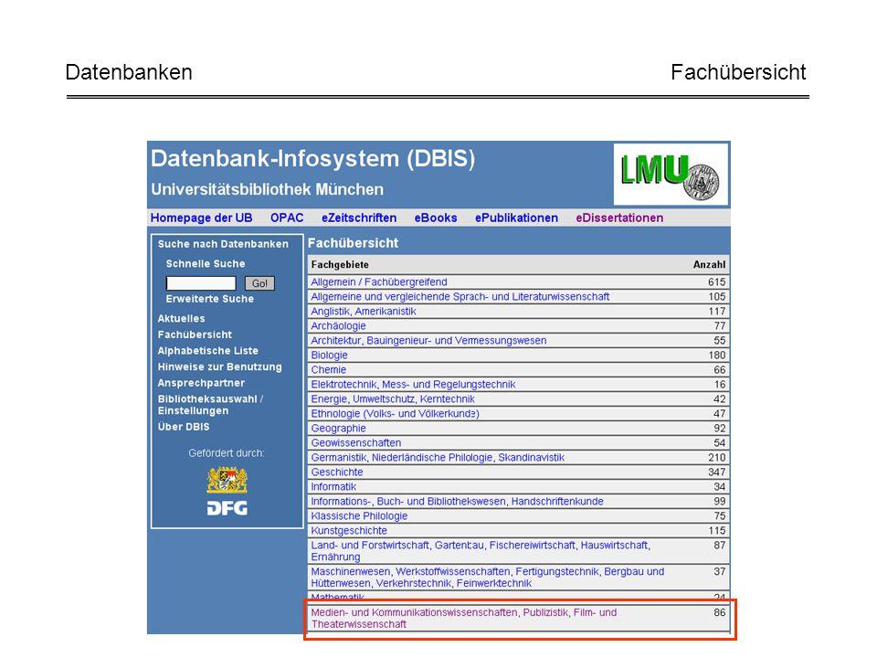 Datenbanken Fachübersicht