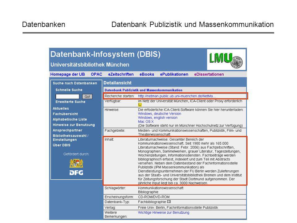 Datenbanken Datenbank Publizistik und Massenkommunikation