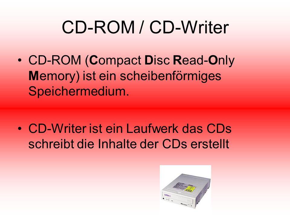 CD-ROM / CD-Writer CD-ROM (Compact Disc Read-Only Memory) ist ein scheibenförmiges Speichermedium. CD-Writer ist ein Laufwerk das CDs schreibt die Inh