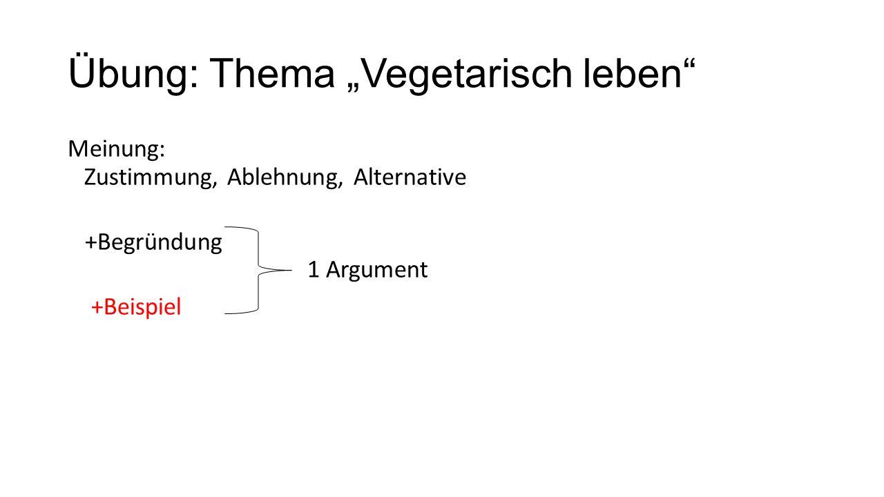 """Übung: Thema """"Vegetarisch leben"""" Meinung: Zustimmung, Ablehnung, Alternative +Begründung 1 Argument +Beispiel"""
