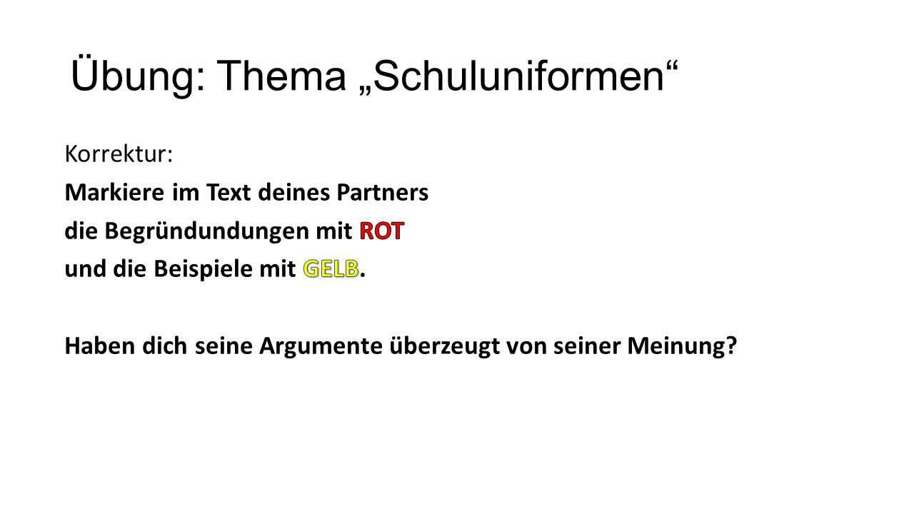 "Übung: Thema ""Schuluniformen"