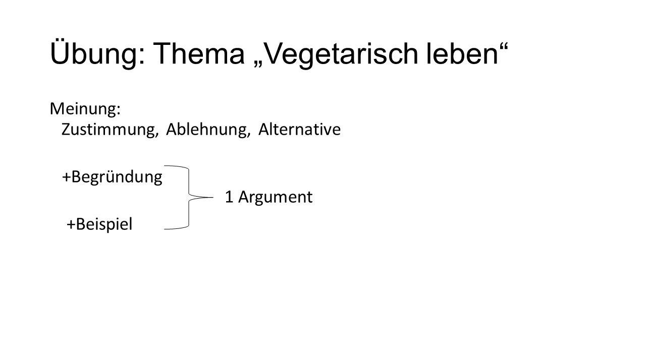 """Übung: Thema """"Vegetarisch leben Meinung: Zustimmung, Ablehnung, Alternative +Begründung 1 Argument +Beispiel"""