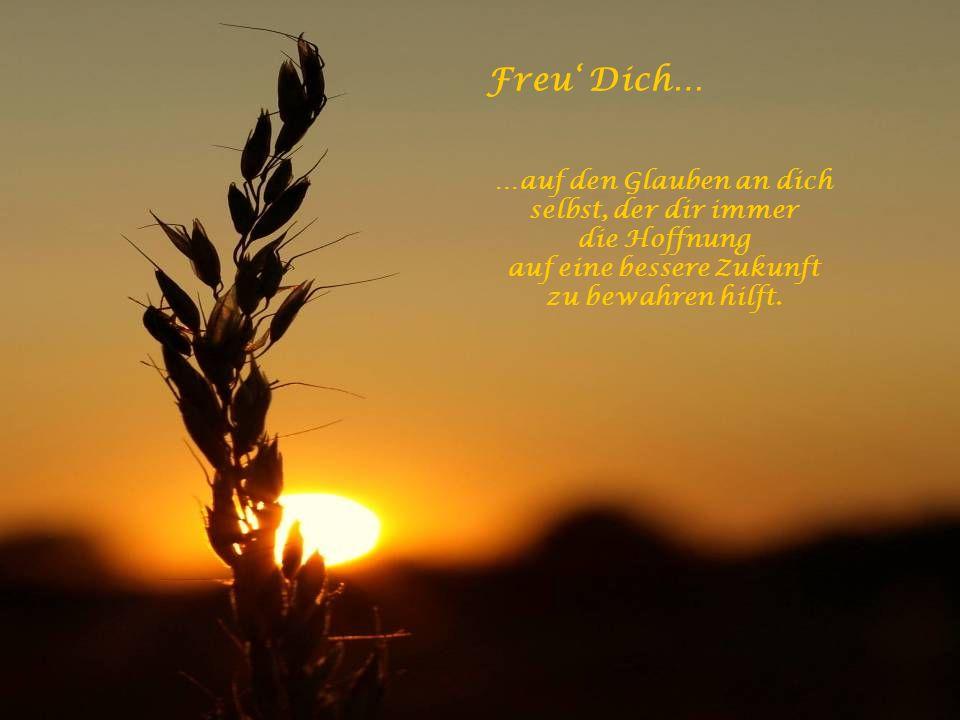 Freu' Dich… …auf die Tage voller Entbehrungen, denn sie werden Dich weiser machen!