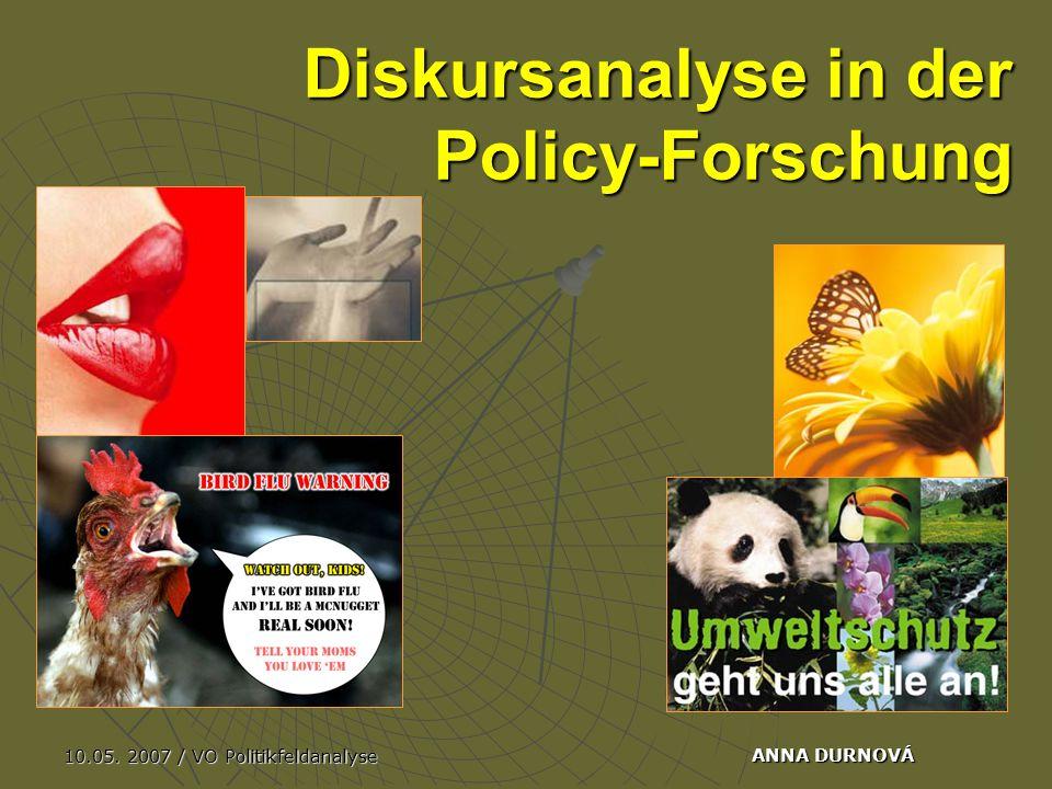 10.05. 2007 / VO Politikfeldanalyse ANNA DURNOVÁ Diskursanalyse in der Policy-Forschung