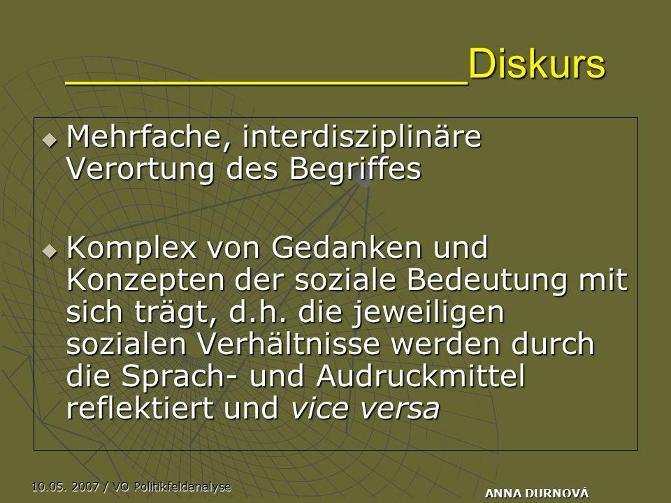 10.05. 2007 / VO Politikfeldanalyse ANNA DURNOVÁ Diskurs  Mehrfache, interdisziplinäre Verortung des Begriffes  Komplex von Gedanken und Konzepten d