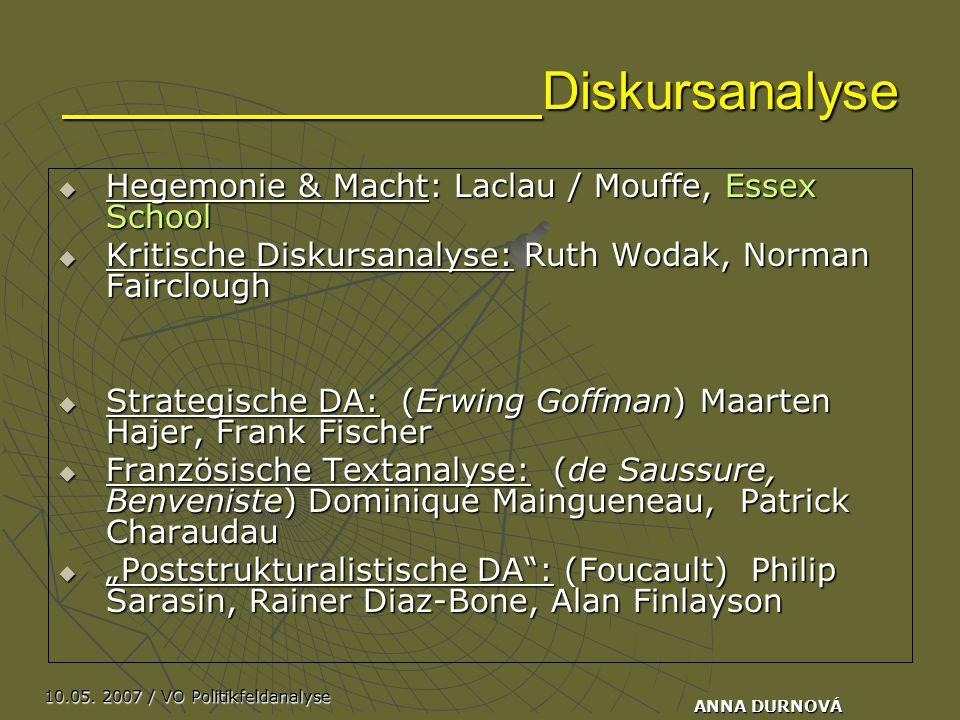 10.05. 2007 / VO Politikfeldanalyse ANNA DURNOVÁ Diskursanalyse  Hegemonie & Macht: Laclau / Mouffe, Essex School  Kritische Diskursanalyse: Ruth Wo