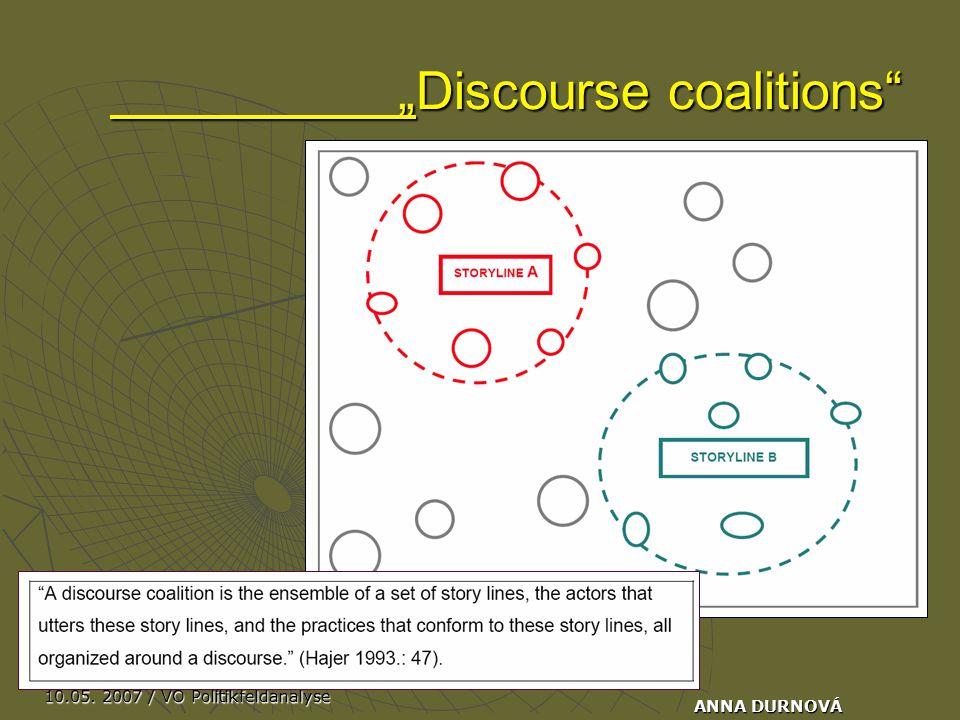 "10.05. 2007 / VO Politikfeldanalyse ANNA DURNOVÁ ""Discourse coalitions"