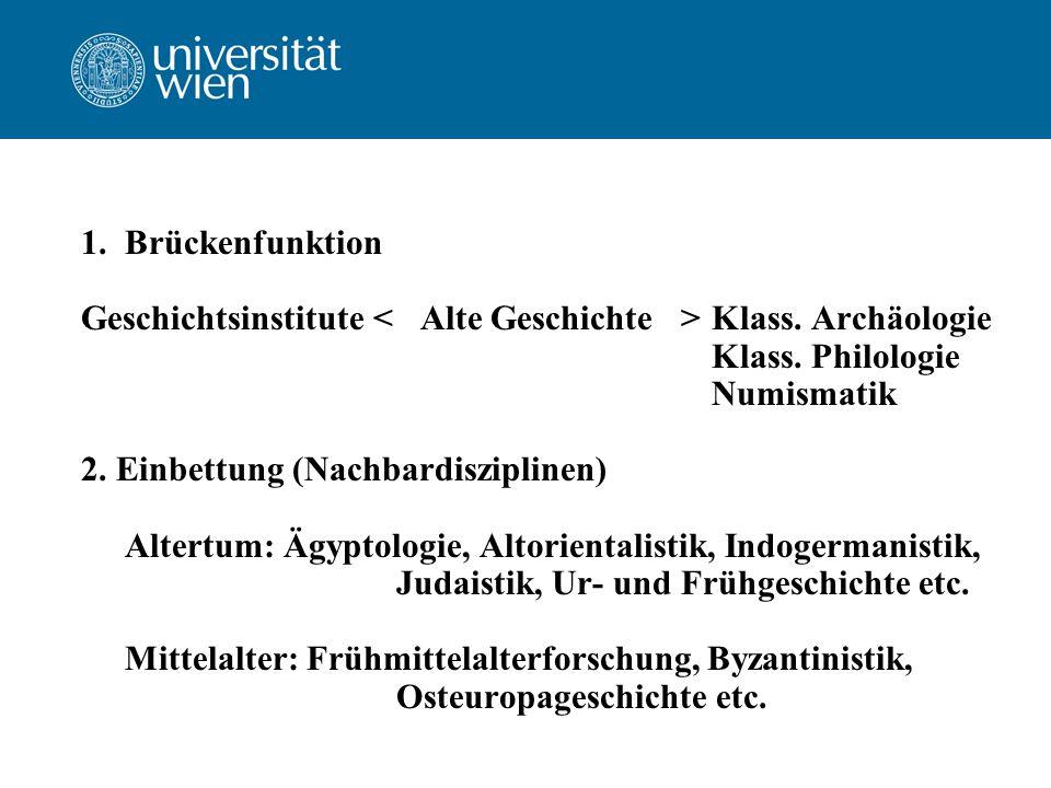 1.Brückenfunktion Geschichtsinstitute Klass. Archäologie Klass.