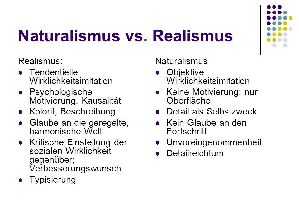Naturalismus vs. Realismus Realismus: Tendentielle Wirklichkeitsimitation Psychologische Motivierung, Kausalität Kolorit, Beschreibung Glaube an die g