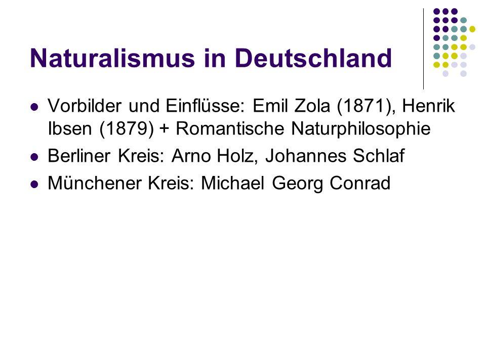 Naturalismus in Deutschland Vorbilder und Einflüsse: Emil Zola (1871), Henrik Ibsen (1879) + Romantische Naturphilosophie Berliner Kreis: Arno Holz, J