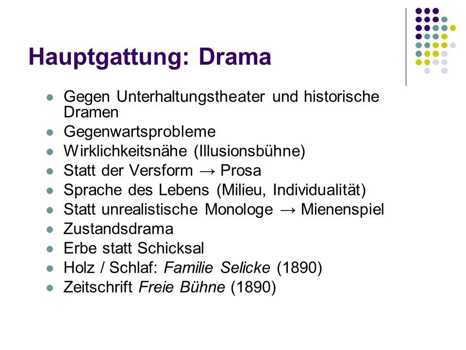 Hauptgattung: Drama Gegen Unterhaltungstheater und historische Dramen Gegenwartsprobleme Wirklichkeitsnähe (Illusionsbühne) Statt der Versform → Prosa