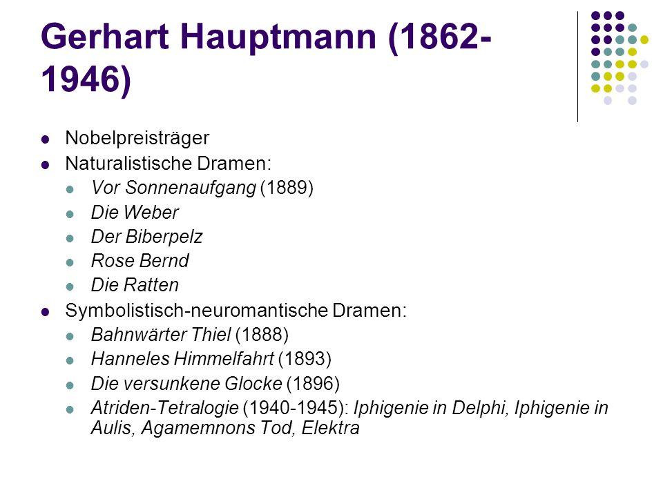 Gerhart Hauptmann (1862- 1946) Nobelpreisträger Naturalistische Dramen: Vor Sonnenaufgang (1889) Die Weber Der Biberpelz Rose Bernd Die Ratten Symboli