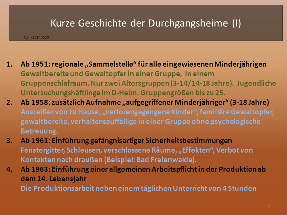 Kurze Geschichte der Durchgangsheime (II) C.S.