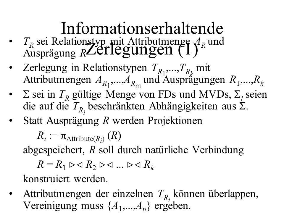 Informationserhaltende Zerlegungen (1) T R sei Relationstyp mit Attributmenge A R und Ausprägung R Zerlegung in Relationstypen T R 1,...,T R k mit Attributmengen A R 1,...,A R m und Ausprägungen R 1,...,R k  sei in T R gültige Menge von FDs und MVDs,  i seien die auf die T R i beschränkten Abhängigkeiten aus .