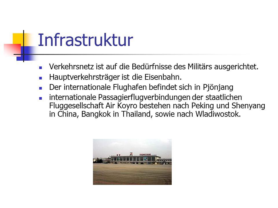 Infrastruktur Verkehrsnetz ist auf die Bedürfnisse des Militärs ausgerichtet. Hauptverkehrsträger ist die Eisenbahn. Der internationale Flughafen befi