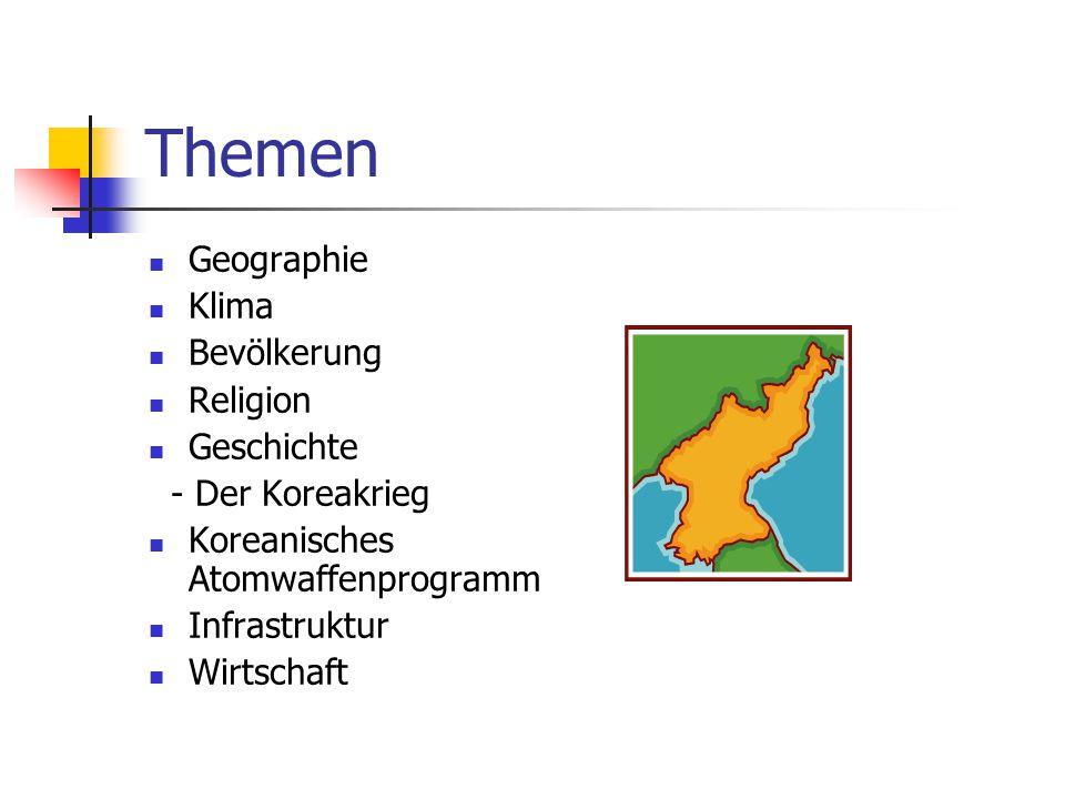 """Geographie Nordkorea umfasst den nördlichen Teil der koreanischen Halbinsel Im Norden grenzt das Land hauptsächlich an die Volksrepublik China Im Süden wird es durch Südkorea (""""Republik Korea ) getrennt Das Landesinnere ist wegen seines gebirgigen Charakters nur dünn besiedelt Der höchste Berg ist der Paektu-san (2744m)"""