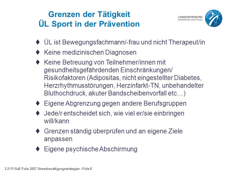 Grenzen der Tätigkeit ÜL Sport in der Prävention 3.21 P-SuE Folie 2007 Stressbewältigungsstrategien - Folie 8  ÜL ist Bewegungsfachmann/-frau und nic