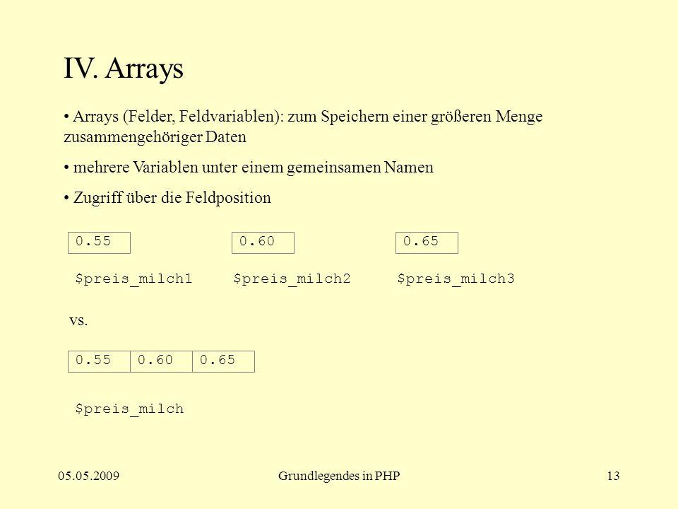 05.05.2009Grundlegendes in PHP13 IV. Arrays Arrays (Felder, Feldvariablen): zum Speichern einer größeren Menge zusammengehöriger Daten mehrere Variabl