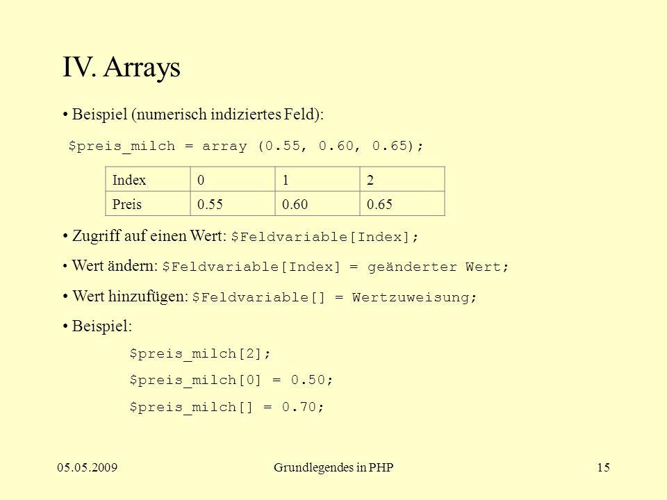 05.05.2009Grundlegendes in PHP15 IV. Arrays Beispiel (numerisch indiziertes Feld): $preis_milch = array (0.55, 0.60, 0.65); Zugriff auf einen Wert: $F