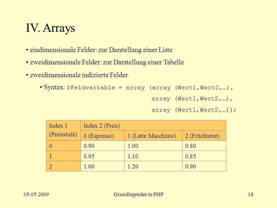 05.05.2009Grundlegendes in PHP18 IV. Arrays eindimensionale Felder: zur Darstellung einer Liste zweidimensionale Felder: zur Darstellung einer Tabelle
